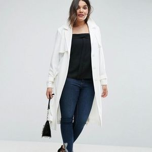ASOS Curve white trench coat NWOT